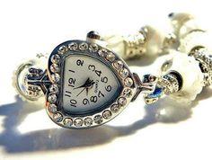 "european bead bracelet Watch white 8-1/4""-10""  fits pandora | egrobeck - Jewelry on ArtFire"