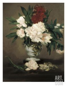 Giclee Print: Vase with Peonies on a Pedestal Wall Art by Édouard Manet by Edouard Manet : Oil Canvas, Canvas Art, Canvas Prints, Canvas Size, Edouard Manet Paintings, Vase, Framed Artwork, Wall Art, Painting Prints