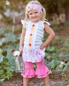 Giggle Moon Baby - Honeycomb & Blossoms Mabel Dress & Capri Leggings Set