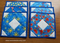 Quilted Summer Coasters Cloth Coasters Blue Red by twistedsticks