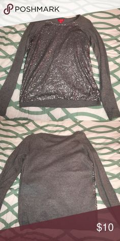 Sequined Sweater Gray sweater with sequins on front! Only worn once ELLE Sweaters