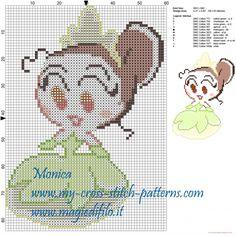 Tiana chibi cross stitch pattern