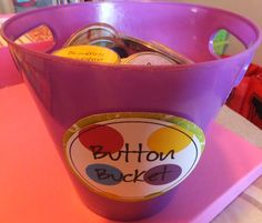 Entirely Elementary...School Counseling: Button Bucket - LOVE this idea