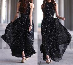 Women Long Maxi Polka Dot Print Sleeveless Dress Casual Belt Gown Evening Party  | eBay
