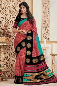 Exclusive Red Bhagalpuri Silk Saree With Bhagalpuri Silk Blouse - Latest Indian Saree, Indian Sarees Online, Silk Saree Blouse Designs, Silk Sarees, Printed Sarees, Printed Silk, Suits For Women, Clothes For Women, Sari Design