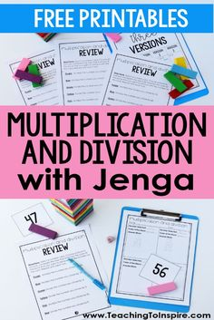 Multiplication and Division Game with Jenga Blocks - Teaching with Jennifer Findley 4th Grade Multiplication, 5th Grade Math Games, Multiplication Activities, Third Grade Math, Math Activities, Grade 3, Standard Algorithm Multiplication, Sixth Grade, Second Grade