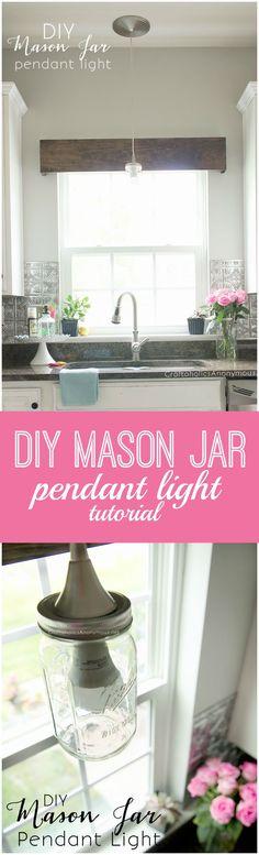 DIY Mason Jar Pendant Light tutorial || Turn a recessed light into a mason jar pendant in 20 mins!