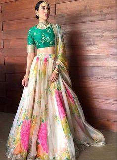 Off White Colour Organza Fabric Lehenga Choli Comes With Matching Blouse and Dupatta. This Lehenga Choli Is Crafted With Embroidery,Zari Work,Sequins Work,Thread Work. This Lehenga Is Semi Stitched an. Lehenga Choli Designs, Lehenga Choli Online, Floral Lehenga, Lehenga Style, Indian Lehenga, Silk Lehenga, Lehenga Choli Wedding, Lehenga Blouse, Bridal Lehenga Choli