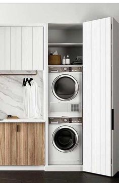 32 Laundry Room for Vertical Spaces - Zoni Hash Laundry Nook, Small Laundry Rooms, Laundry Closet, Laundry Room Storage, Laundry In Bathroom, Basement Laundry, European Laundry, Tyni House, Laundry Room Inspiration