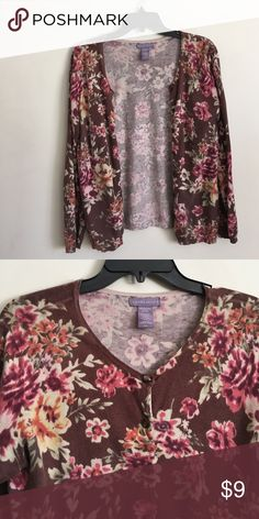 Floral cardigan Laura Scott women's size M brown cardigan with pink/orange flower designs. All buttons in tact. Barely worn, great condition! A cozy investment :) Laura Scott Sweaters Cardigans