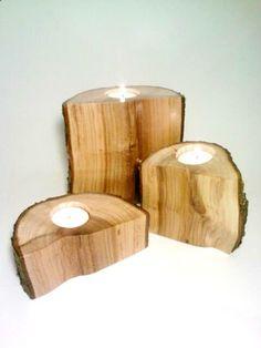 Log Candle Holder, Split Log Candle Holders, Set of 3, Log Centerpiece, Tea light Candle Holder, Rustic Centerpiece. $60.00, via Etsy.