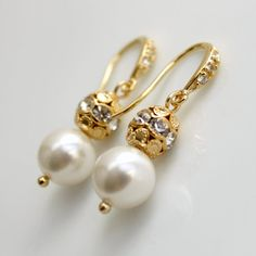 $26 Pearl Jewelry Pearl Earrings Bridemaid Earrings White Pearl Rhinestone Cubic Zirconia Earwires Gold Wedding Jewelry Bridesmaid Jewelry