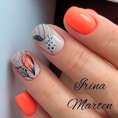 Orange Abstracted Fall Nails Simple ideas with different colors sparkle and glitter involved to add that fresh seasonal style to your look. Light Pink Nail Designs, Orange Nail Designs, Colorful Nail Designs, Toe Nail Designs, Fall Nail Designs, Zebra Nails, Toe Nails, Pink Nails, Stylish Nails
