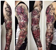 Awesome Floral Tattoo Design For Men Full Sleeve