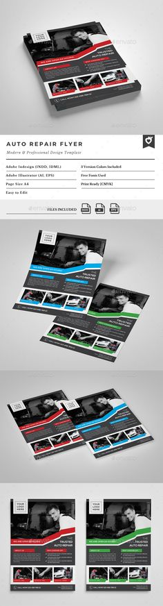 Auto Repair Flyer — Vector EPS #design #professional
