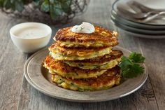 Fresh Corn, Jalapeno & Zucchini Cakes with Crema, Lime and Cilantro Dressing | Cacique® Inc.