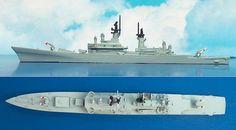 """US-Lenkwaffen-Kreuzer CG-18 USS """"Worden"""" der Leahy-Klasse (Delphin 2) 1:1250"""