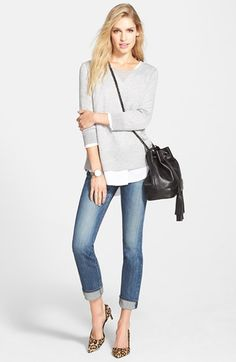 Halogen® Zip Back Trapeze Sweater (Regular & Petite) | Nordstrom