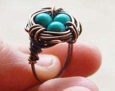 Bird nest ring, Oxidized copper, Howlite Turquoise, Custom sized, Wire jewelry