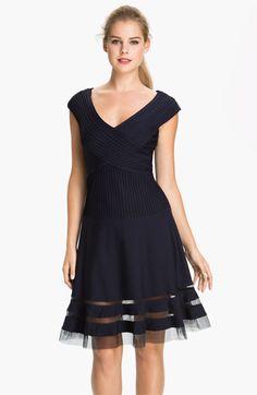 Tadashi Shoji V-Neck Tulle Trim Fit & Flare Dress available at #Nordstrom