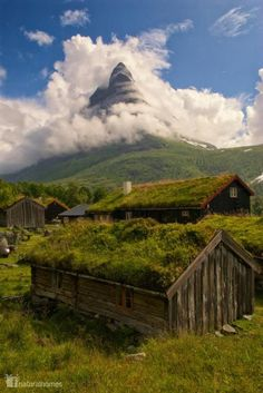 This beautiful collection of log cabins with green roofs and moss insulation are in the Innerdalen valley [www.innerdalen.com] about 100km south west of Trondheim in Norway. The impressive mountain in the background is called Innerdalstårnet and is known as Norway's Matterhorn. It's an area where summer mountain farming [www.herdalssetra.no/engsider/engstart.html] practices from the 12th Century are still being used to graze goats and sheep for cheese making.
