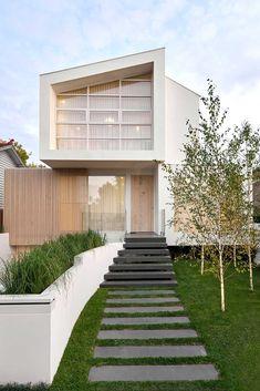 House Cladding, Exterior Cladding, Facade House, Modern House Facades, Modern Architecture House, Modern House Design, Architecture Design, White Exterior Houses, Modern Exterior