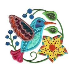 Jacobean Hummingbirds Machine Embroidered Applique Quilt Blocks