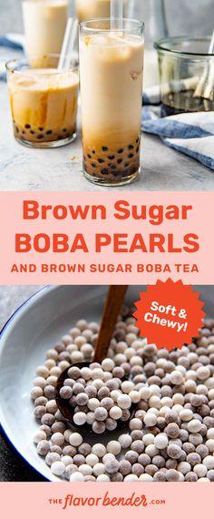 Milk Tea Recipes, Coffee Recipes, Dessert Recipes, Boba Tea Recipe, Yummy Drinks, Yummy Food, Boba Pearls, Make Brown Sugar, Boba Drink