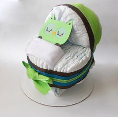 Owl Baby Shower Bassinet Diaper Cake by SprinklesPaperieCo on Etsy, $35.00