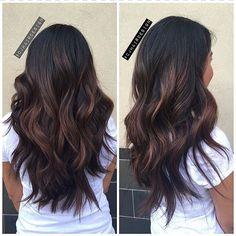 Bayalage Black Hair, Dark Brown Balayage, Black Hair Ombre, Ombre Haïr, Brown Black Hair Color, Brown Hair, Balayage Hair Caramel, Hair Color Balayage, Balayage Hairstyle
