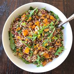 This may be my favorite new quinoa salad for Spring. The recipe is adapted from Food & Wine. It's two types of quinoa mixed with caramelized onions, dried apricots, pistachios, arugula and the yummiest citrus vinaigrette!  The vinaigrette is mostly orange flavored with a touch of lemon, so it's not too sweet and it's so good! A little extra orange zest on top make it extra pretty. This is a front runner for my Easter table at the moment…