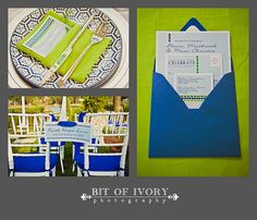 Lime green and blue wedding invitation and stationery (Orchestrated Stylized Shoots)