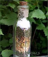 "Witchbottle example:  1/4 to 1 cup salt      1 clove garlic      3 bay leaves      7 tsp. dried basil      4 tsp. dill seeds      1 tsp. sage      1 tsp. anise      1 tsp. black pepper      1 tsp. fennel      Mix the ingredients well and then seal the jar with white candle wax on a sunny day while you say the following words:    ""Spices that protect  Guard my home with energy  As bright as the sun""    Place the jar in a prominent spot in your home"