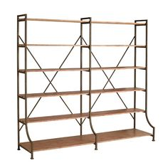 make something similar?! (but single-wide..and taller) for RIGHT side of fireplace. (OR small wall to R of couch?) get local neighborhood place to make the frame? add shelves myself?  Iron Trussing Bookshelf $419 //Wisteria