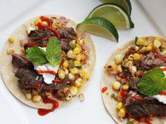 Easy Skillet Steak Tacos With Charred Corn and Sriracha