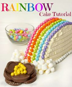 Discover how to make an adorable Rainbow Cake idea including a pot of gold! Easy DIY Rainbow Cake decorating tutorial that is great to feature kids in the kitchen and for any party. Perfect for Spring, Saint Patricks Day or even Easter. Oreo Dessert, Mini Desserts, Cupcakes, Cupcake Cakes, Rainbow Cake Tutorial, Cake Pops, Cake Recipes, Dessert Recipes, Novelty Birthday Cakes