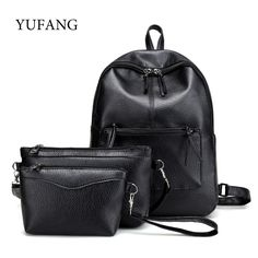 e489bfac86b0 YUFANG 3Pcs Set Travel Backpack Korean Women Backpack Female Schoolbag PU  Leather Women Bag Casual · Black BackpackWomen s ...