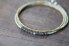 Seed Bead & Labradorite Multi Wrap Bracelet by MoonLabJewelry