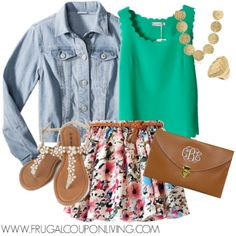 Frugal Fashion Friday Floral Skirt Outfit and Scallop Top #polyvore #frugalfashionfriday #fashion #fashionfriday #floral #clutch #gold #jeanjacket #summer #skirt http://www.frugalcouponliving.com/2014/07/18/frugal-fashion-friday-floral-skirt-outfit/