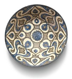 A Kashan blue and black pottery bowl with palmettes, Persia, early century from Alain.Truong by Alain Truong Pottery Bowls, Ceramic Pottery, Pottery Art, Ceramic Art, Ceramic Design, Cobalt, Ceramic Shop, Art Storage, Pottery Designs