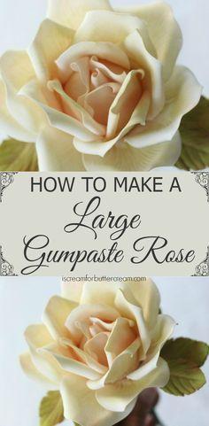 How to Make a Large Gumpaste Rose – I Scream for Buttercream - fondant rose Rose En Fondant, Fondant Icing, Fondant Cakes, Fondant Toppers, Fondant Baby, Fondant Figures, Gumpaste Recipe, Fondant Tips, Buttercream Recipe