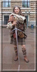 """The Scottish Claymore, from claidheamh mòr or """"great sword"""". Link below is to a list of Scottish War Cries.  That sword is almost as tall as I am."""
