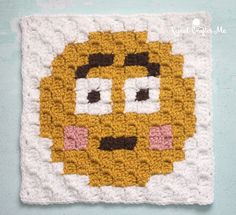 Embarrassed Emoji is the eighth square in C2C Crochet Emoji Graphga