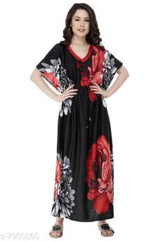Nightdress Fomti Satin Night Wear Kaftaans for Women's Fabric: Satin Sleeve Length: Short Sleeves Pattern: Printed Multipack: 1 Sizes: Free Size (Bust Size: 44 in Length Size: 60 in) Country of Origin: India Sizes Available: Free Size, L, XL, XXL, 4XL, 5XL   Catalog Rating: ★4.2 (5483)  Catalog Name: Inaaya Alluring Women Nightdresses CatalogID_1298722 C76-SC1044 Code: 182-7900860-998
