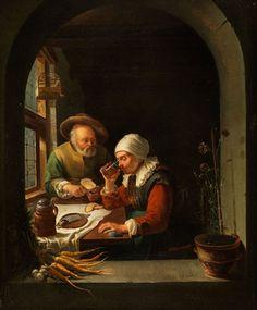 Frans van Mieris: een oud paar aan hun maaltijd. ca. 1650-1655. Galleria degli Uffizi, Florence. Voorheen toegeschreven aan Gerard Dou. Geïnspireerd op Gerard Dou: oude man en vrouw in een interieur.