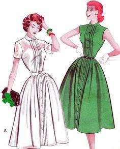 1950s Dress Pattern Butterick 6049 Pintuck Shirtdress Pattern Full Skirt Womens Vintage Sewing