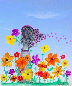 """""""Mas é que aqui dentro tem tanta coisa linda, tanto amor, tanta poesia que transbordo em cores, em flores. Sou moça de peito aberto, ofereço sem querer nada em troca, mas recebo de bom grado tudo o que puder me fazer crescer, florescer, AMORecer."""" Tati Zanella   #frases #ilustração #mensagem #cute #flores #flowers #pensamentos"""