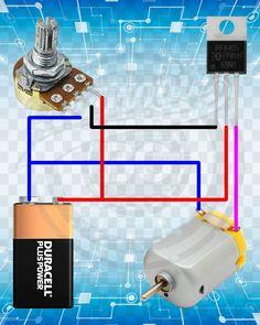 me ~ Simple DC Motor Speed Control Circuit. Electronics Projects, Simple Electronics, Hobby Electronics, Electrical Projects, Electrical Installation, Electronics Components, Arduino Projects, Electronic Circuit Design, Electronic Engineering