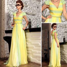 Floor-length V-neck Short sleeve Natural Formal Evening Dress