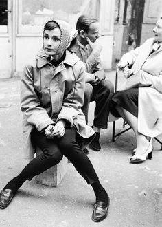 Audrey Hepburn and Fred Astaire on the set of 'Funny Face', Paris, 1956.   Bazooka Joe